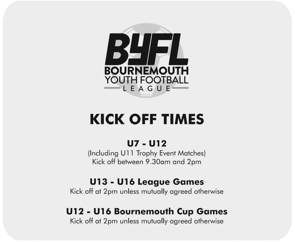 BYFL Kick off times